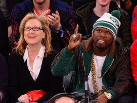 50 Cent & Meryl Streep Hanging out courtside.